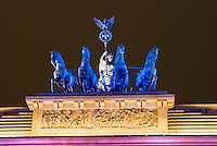 The top of the Brandenberg gate Berlin at the festival of light