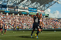 Amobi Okugo (14) of the Philadelphia Union celebrates scoring with Sebastien Le Toux (11) during the first half against FC Dallas during a Major League Soccer (MLS) match at PPL Park in Chester, PA, on June 29, 2013.
