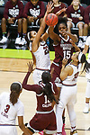DALLAS, TX - APRIL 2: Teaira McCowan #15 of the Mississippi State Lady Bulldogs passes to Ketara Chapel #13 of the Mississippi State Lady Bulldogs during the 2017 Women's Final Four at American Airlines Center on April 2, 2017 in Dallas, Texas. (Photo by Timothy Nwachukwu/NCAA Photos via Getty Images)