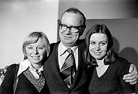 SDLP leader Gerry fitt pictured with his two daughters, Joan and Eileen after holding his seat in the 1974 UK General Election, February 1974. 197402005061<br />