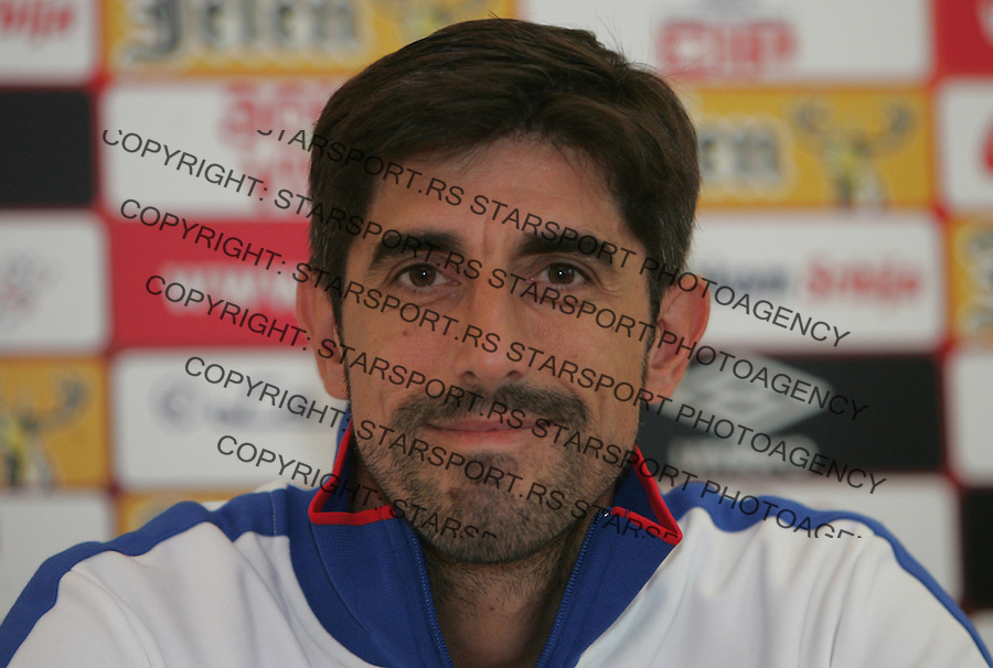 Fudbal Soccer<br /> Press conference prior the U19 European championship in Hungary<br /> Head coach Veljko Paunovic <br /> Beograd, 07.15.2014<br /> foto: Srdjan Stevanovic/Starsportphoto &copy;