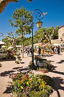 Plants for sale in the Place de la Republique in village of Seillans during the Flower Festival, Var, Provence, France.