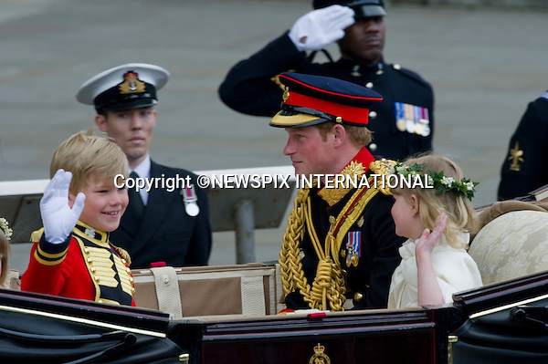 """PRINCE WILLIAM AND CATHERINE MIDDLETON_Prince Harry with page boy and bridesmaid.Marry at Westminster Abbey,London_29/04/2011.Mandatory Photo Credit: ©Dias/Newspix International..**ALL FEES PAYABLE  TO: """"NEWSPIX INTERNATIONAL""""**..PHOTO CREDIT MANDATORY!!: NEWSPIX INTERNATIONAL(Failure to credit will incur a surcharge of 100% of reproduction fees)..IMMEDIATE CONFIRMATION OF USAGE REQUIRED:.Newspix International, 31 Chinnery Hill, Bishop's Stortford, ENGLAND CM23 3PS.Tel:+441279 324672  ; Fax: +441279656877.Mobile:  0777568 1153.e-mail: info@newspixinternational.co.uk"""