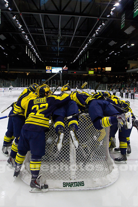 The University of Michigan men's hockey team defeats Michigan State University, 5-2, at Munn Arena in East Lansing, Mich., on Jan. 24, 2014.