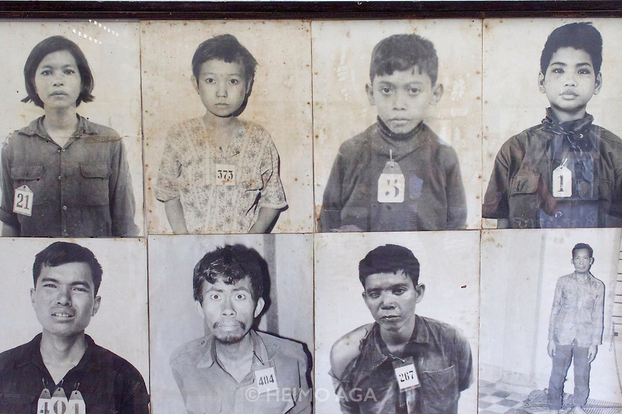 Phnom Penh, Cambodia. Tuol Sleng Genocide Museum at the former Security Prison 21 (S-21) of the Khmer Rouge. Photographs of former inmates, most of them killed.
