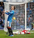 Joe Garner roars after scoring his second goal of the match
