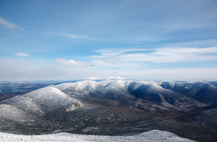 Pemigewasset Wilderness from Mount Lafayette during the winter months in the White Mountains of New Hampshire. Mount Garfield is above the cliffs. The foreground was logged during the East Branch & Lincoln Railroad era, which as was a logging railroad in operation from 1893-1948.