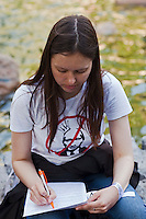 Moscow, Russia, 15/05/2012..A protester wearing an anti-Putin shirt in Chistiye Prudy, or Clean Ponds, as a Moscow court ordered the eviction of some 200 opposition activists who have set up camp in the city centre park.