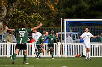 Lucky Mkosana (17) of the Dartmouth Big Green and Andrew Olsen (7) celebrate the third goal of the game. Dartmouth defeated Monmouth 4-0 during the first round of the 2010 NCAA Division 1 Men's Soccer Championship on the Great Lawn of Monmouth University in West Long Branch, NJ, on November 18, 2010.