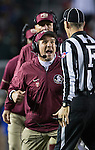Florida State head coach Jimbo Fisher disagrees with field judge Wayne Rundell in the second half of an NCAA college football game against Florida in Tallahassee, Fla., Saturday, Nov. 26, 2016. Florida State defeated Florida 31-13. (AP Photo/Mark Wallheiser)
