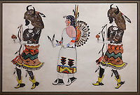 Buffalo Dance, a Pueblo ritual performed in most villages, painting probably by Tomas Vigil or Pan Yo Pin, 1889-1960, Puebloan artist, in the Chapin Mesa Archeological Museum, in Mesa Verde National Park, Montezuma County, Colorado, USA. Tomas Vigil is from Tesuque Pueblo, New Mexico, and is of the Santa Fe Indian School of Art. Mesa Verde is the largest archaeological site in America, with Native Americans inhabiting the area from 7500 BC to 13th century AD. It is listed as a UNESCO World Heritage Site. Picture by Manuel Cohen