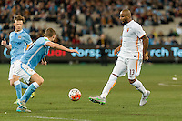 Melbourne, 21 July 2015 - Maicon of AS Roma passes the ball in game two of the International Champions Cup match at the Melbourne Cricket Ground, Australia. City def Roma 5-4 in Penalties. (Photo Sydney Low / AsteriskImages.com)