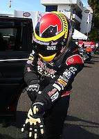 Feb 14, 2016; Pomona, CA, USA; NHRA top fuel driver J.R. Todd during the Winternationals at Auto Club Raceway at Pomona. Mandatory Credit: Mark J. Rebilas-USA TODAY Sports