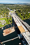 aerial photo of 520 floating bridge construction project