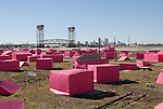 Make It Right NOLA is Brad Pitt's green project to rebuild the lower 9th ward in New Orleans pictured Jan 1,2008. The installation of all the pink houses is to represent the 13 different types of green housing offered by Make It Right and they are illuminated at night by solar panels and solar candels..(Photo/© Suzi Altman)