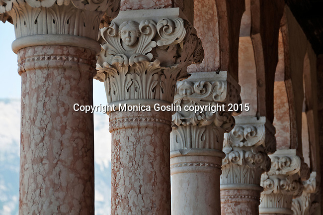 Columns of the Gothic loggia in the Buonconsiglio Castle, the castle dates back to the 13th century and is now a museum