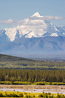 Mount Hayes, Alaska range ridgeline viewed from a scenic viewpoint along the Richardson Highway, north of Delta Junction. Tanana river in the foreground of the mountain range.