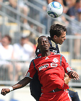 Stefani Miglioranzi #6 of the Philadelphia Union goes up for a header against Amadou Sanyang #22 of Toronto FC during an MLS match at PPL stadium in Chester, PA. on July 17 2010. Union won 2-1 with a last minute penalty kick goal.