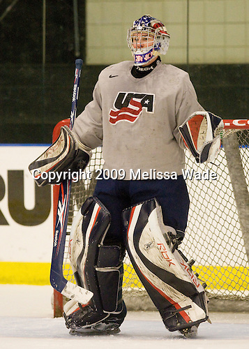 Jack Campbell (US - 1) - The US practiced the morning of Sunday, April 19, 2009, prior to their gold medal game against Russia in the 2009 World Under 18 Championship at the Urban Plains Center in Fargo, North Dakota.