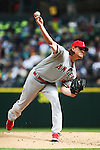 Los Angeles Angels  starting pitcher Jered Weaver pitches to Seattle Mariners'  Mike Zunino in the second inning of  season home opener April 6, 2015 at Safeco Field in Seattle.  The Mariners beat the Angels 4-1.      ©2015. Jim Bryant Photo. ALL RIGHTS RESERVED.
