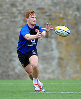 Rory Jennings of Bath Rugby receives the ball. Bath Rugby training session on August 4, 2015 at Farleigh House in Bath, England. Photo by: Patrick Khachfe / Onside Images