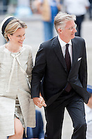 The Royal family of Belgium attends the 20th Celebration's anniversary of King Baudouin's death