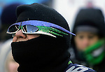 A Seattle Seahawks fan braved temperatures in the mid-20's to greet the team after the club's 43-8 victory over the Denver Broncos in Super Bowl XLVIII at a brief championship celebration at  CenturyLink Field with Seahawks players, coaches, and staff on February 5, 2014 in Seattle. ©2014. Jim Bryant photo.  ALL RIGHTS RESERVED.