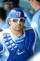 15 June 2011: #28 Catcher Rod Barajas during a Major League Baseball game where the LA Dodgers were defeated 7-2 by the Cincinnati Reds at Dodger Stadium during a day game. Players are wearing throwback uniforms from the 1940's. **Editorial Use Only**