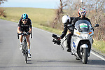 Geraint Thomas (WAL) Team Sky takes control of the race on the final climb during Stage 2 of the 2017 Tirreno Adriatico running 229km from Camaiore to Pomarance, Italy. 9th March 2017.<br /> Picture: La Presse/Fabio Ferrari | Cyclefile<br /> <br /> <br /> All photos usage must carry mandatory copyright credit (&copy; Cyclefile | La Presse)