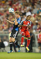 27 August 2011: San Jose Earthquakes defender Chris Leitch #3 and Toronto FC forward Joao Plata #7 in action during a game between the San Jose Earthquakes and Toronto FC at BMO Field in Toronto..The game ended in a 1-1 draw.