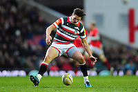 Freddie Burns of Leicester Tigers looks to gather the ball. Aviva Premiership match, between Leicester Tigers and Saracens on January 1, 2017 at Welford Road in Leicester, England. Photo by: Patrick Khachfe / JMP