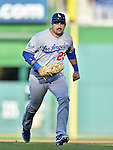 19 September 2012: Los Angeles Dodgers infielder Adrian Gonzalez in action against the Washington Nationals at Nationals Park in Washington, DC. The Nationals defeated the Dodgers 3-1 in the first game of their double-header. Mandatory Credit: Ed Wolfstein Photo