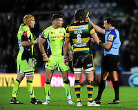 Mike Phillips of Sale Sharks is shown a yellow card. Aviva Premiership match, between Northampton Saints and Sale Sharks on December 23, 2016 at Franklin's Gardens in Northampton, England. Photo by: Patrick Khachfe / JMP