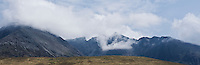 Clearing clouds over Black Cuillin mountains as viewed from Glenbrittle, Isle of Skye, Scotland