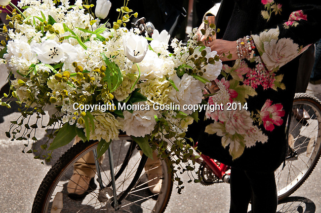 A bike decorated with flowers in the Easter Parade on Fifth Avenue in New York City