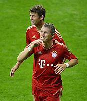 FUSSBALL   1. BUNDESLIGA  SAISON 2012/2013   2. Spieltag  02.09.2012 FC Bayern Muenchen - VfB Stuttgart       JUBEL FC Bayern; Bastian Schweinsteiger nach seinem Tor zum 5-1
