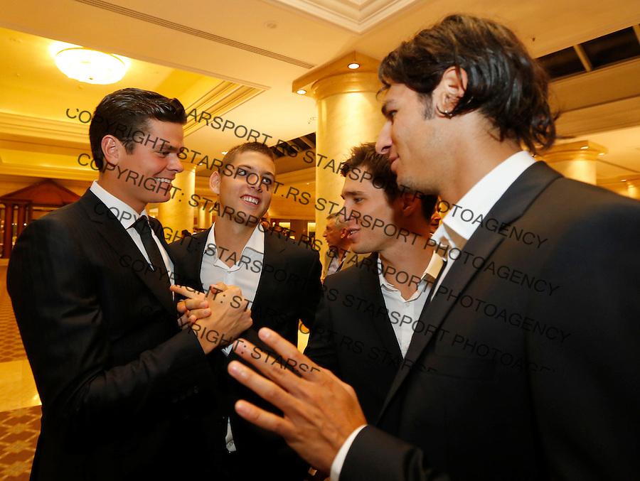 Tennis Tenis<br /> Davis Cup semifinal polufinale<br /> Serbia v Canada<br /> Official dinner<br /> Milos Raonic Filip Krajinovic Dusan Lajovic and Ilija Bozoljac<br /> Beograd, 11.09.2013.<br /> foto: Srdjan Stevanovic/Starsportphoto &copy;