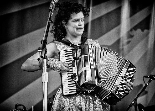 Regine Chassagne of Arcade Fire performing on the Acura Stage at the 2011 New Orleans Jazz & Heritage Festival at the Fair Grounds Race Course in New Orleans, LA. USA.