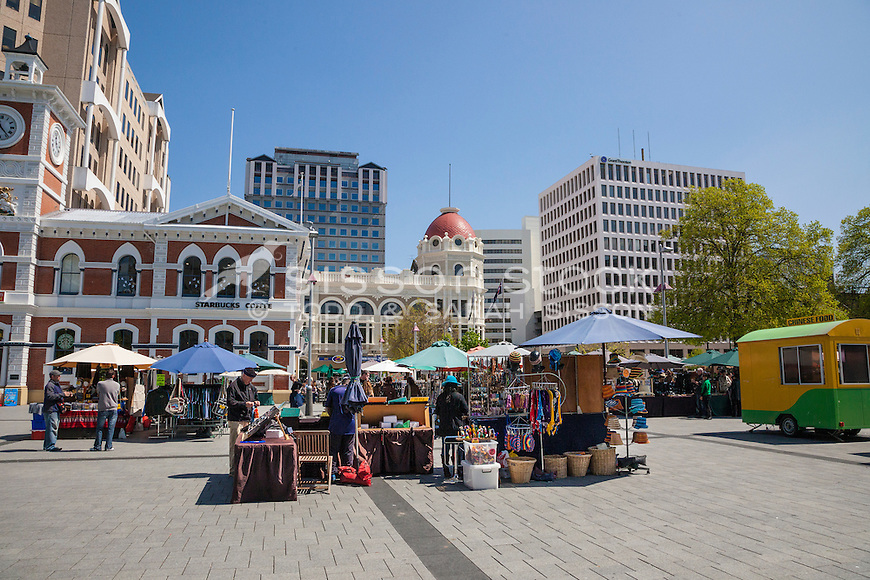 Cathedral Square Market on a sunny day pre February 2011 earthquake, Christchurch, Canterbury, New Zealand - stock photo, canvas, fine art print