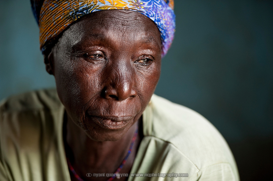 Sana Alhassan, approximately 90, is a resident of the Kpatinga camp for alleged witches. Her son, a local sub-chief, is building a house for her on his land and she hopes to leave the camp soon.