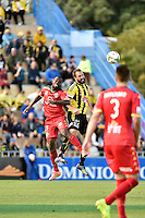 Andrew Durante ( phoenix ) and Bruce Djite ( Adelaide ) in action during the A League - Wellington Phoenix v Adelaide United at Hutt Recreational Ground, Lower Hutt, New Zealand on Saturday 7 March 2015. <br /> Photo by Masanori Udagawa. <br /> www.photowellington.photoshelter.com.