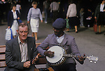 Buskers Manchester 1980s. England.