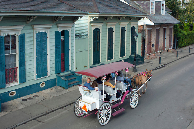 Louisiana, New Orleans, French Quarter, Bourbon Street, Horse And Carriage Ride, Tourists