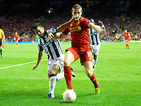 LIVERPOOL, ENGLAND - Thursday, October 4, 2012: Liverpool's Jordan Henderson in action against Udinese Calcio during the UEFA Europa League Group A match at Anfield. (Pic by David Rawcliffe/Propaganda)