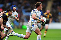 Henry Slade of Exeter Chiefs goes on the attack. European Rugby Champions Cup quarter final, between Wasps and Exeter Chiefs on April 9, 2016 at the Ricoh Arena in Coventry, England. Photo by: Patrick Khachfe / JMP
