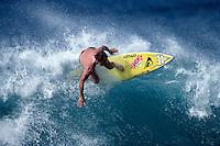Ross Clarke Jones (AUS) surfing Rockpiles during a winter season on the North Shore Oahu, Hawaii. Circa 1990. Photo: joliphotos.com