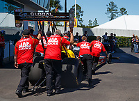 Mar 19, 2017; Gainesville , FL, USA; Crew members for NHRA top fuel driver Doug Kalitta during the Gatornationals at Gainesville Raceway. Mandatory Credit: Mark J. Rebilas-USA TODAY Sports