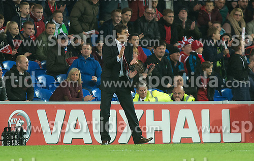 13.10.2014, City Stadium, Cardiff, WAL, UEFA Euro Qualifikation, Wales vs Zypern, Gruppe B, im Bild Wales manager Chris Coleman against Cyprus // 15054000 during the UEFA EURO 2016 Qualifier group B match between Wales and Cyprus at the City Stadium in Cardiff, Wales on 2014/10/13. EXPA Pictures &copy; 2014, PhotoCredit: EXPA/ Propagandaphoto/ Ian Cook<br /> <br /> *****ATTENTION - OUT of ENG, GBR*****