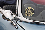 March 31, 2013 - Garden City, New York, U.S. - This side view mirror and decal is closeup of 1967 E Type Jaguar 4:2 Series 1, at the 58th Annual Easter Sunday Vintage Car Parade and Show sponsored by the Garden City Chamber of Commerce. Hundreds of authentic old motorcars, 1898-1988, including antiques, classic, and special interest participated in the parade.