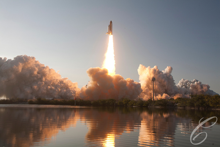 Space Shuttle Discovery takes off from the Kennedy Space Center for the final time on February 24, 2011.  Discovery's mission takes it to the International Space Station (ISS) to deliver the Permanent Multipurpose Module (PMM) and Robonaut 2.